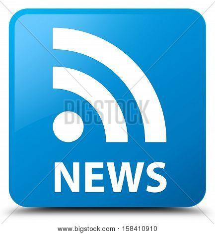 News (RSS icon) cyan blue square button