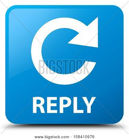 Reply (rotate arrow icon) cyan blue square button