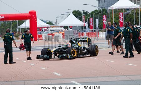 Trulli finishes an F1 demo run in Putrajaya Malaysia