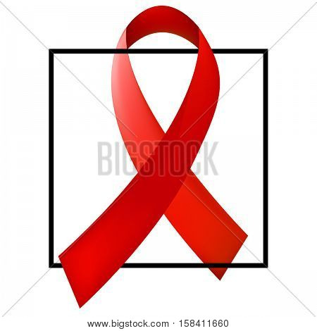World Aids Day concept with the black square and red ribbon of aids awareness. 1st December. Vector illustration.