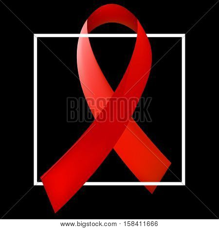 World Aids Day concept with the white square and red ribbon of aids awareness. 1st December. Vector illustration.