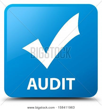 Audit (validate icon) cyan blue square button