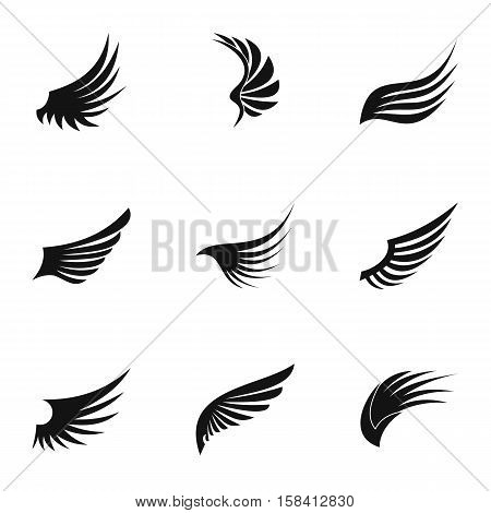 Wings of bird icons set. Simple illustration of 9 wings of bird vector icons for web