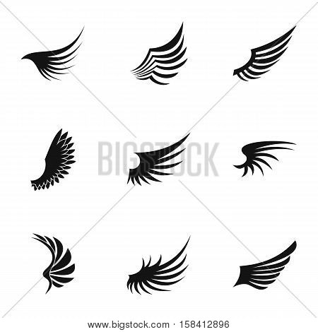 Feather wings icons set. Simple illustration of 9 feather wings vector icons for web