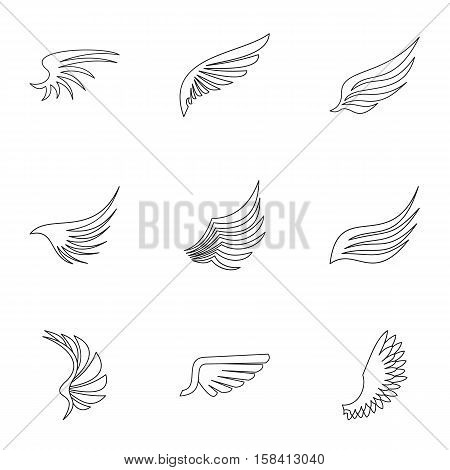 Wings of bird icons set. Outline illustration of 9 wings of bird vector icons for web