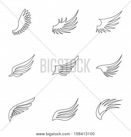Types of wings icons set. Outline illustration of 9 types of wings vector icons for web