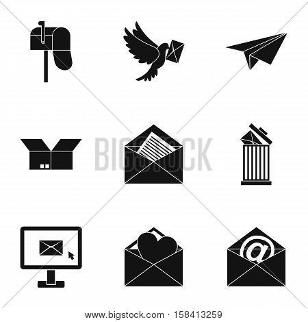 Message icons set. Simple illustration of 9 message vector icons for web