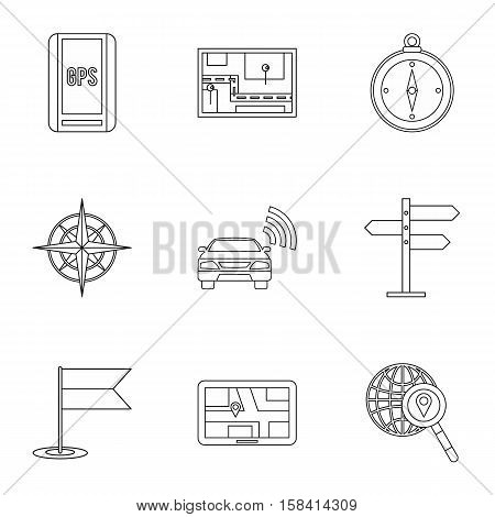 Search territory icons set. Outline illustration of 9 search territory vector icons for web