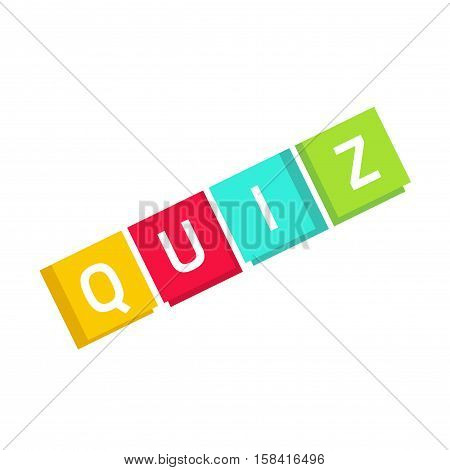 Quiz logo vector in cubes, questionnaire show icon concept, flat style quiz text isolated on white background
