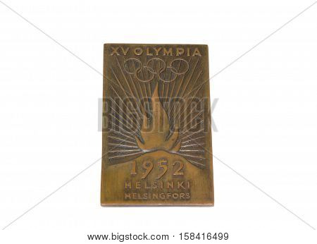 Helsinki 1952 Olympic Games Torch Relay Plaque On White Background. 06.09.2016 Kouvola.