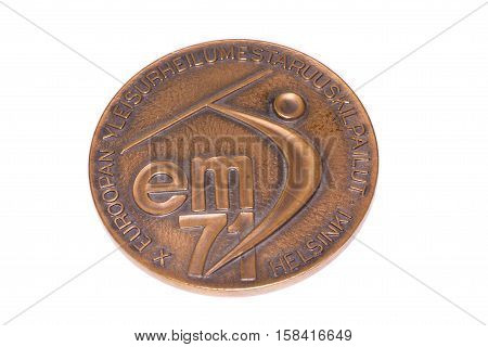 Helsinki 1971 Athletics European Championships Participation Medal, Obverse. Kouvola, Finland 06.09.