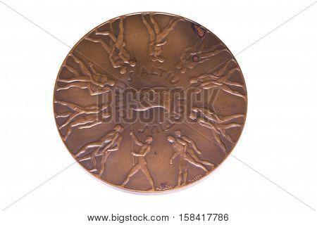 Melbourne 1956 Olympic Games Participation Medal, Reverse. Kouvola, Finland 06.09.2016.