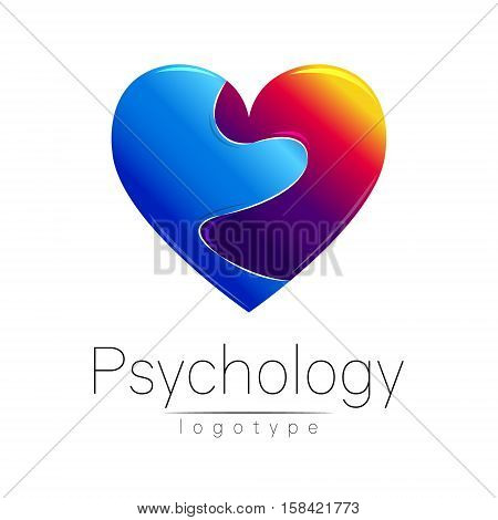 Modern logo of Psychology. Broken heart. . Creative style. Logotype in vector. Design concept. Brand company. Blue and grief red color on white background. Symbol for web, print, card, flyer. Loss pain