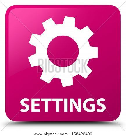 Settings isolated on abstract pink square button