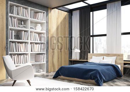 Corner Of Bedroom Interior With Bookcase