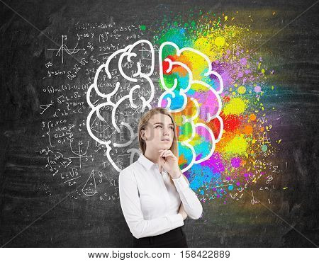 Thoughtful businesswoman is standing near a blackboard with brain sketch. Half of it is colored half is surrounded by fromulas