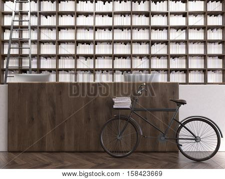 Close up of a library counter with a bike standing beside it. There is a bookcase with a ladder in the background. 3d rendering. Mock up