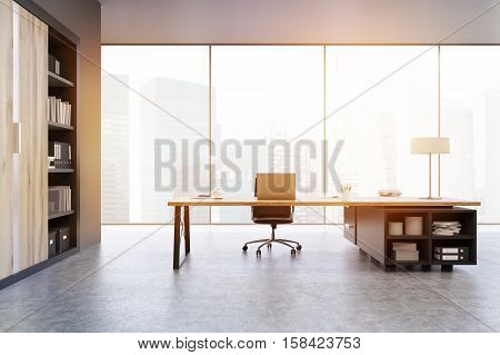 View Of A Ceo Office With Wooden Doors And A Bookcase, Toned
