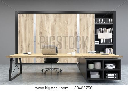 Front View Of A Ceo Office With Wooden Doors And A Bookcase