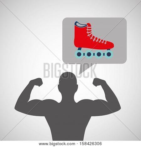 silhouette man bodybuilder skating vector illustration eps 10