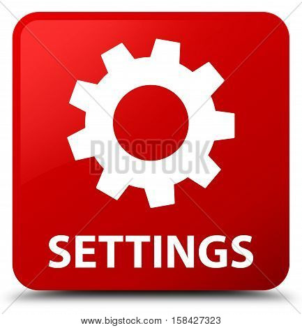 Settings isolated on abstract red square button