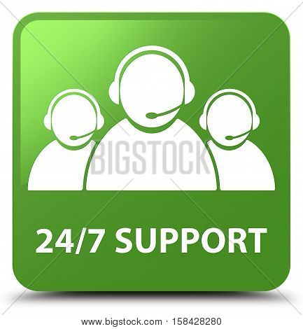 24/7 Support (customer Care Team Icon) Soft Green Square Button