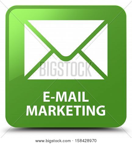 E-mail marketing isolated on abstract soft green square button
