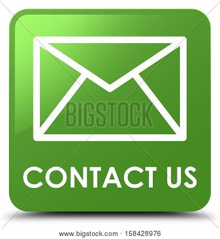 Contact Us (email Icon) Soft Green Square Button