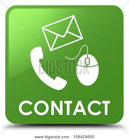 Contact (phone, Email And Mouse Icon) Soft Green Square Button
