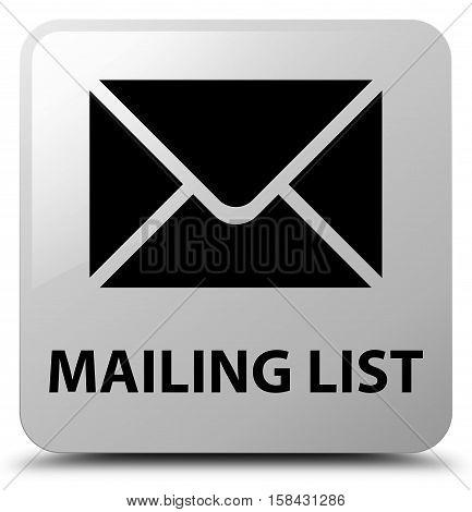 Mailing list (envelop icon) white square button