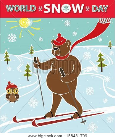 World Snow day.Cartoon bear skiing.Vector humorous illustration.poster, design template.Intarnational winter sport day.