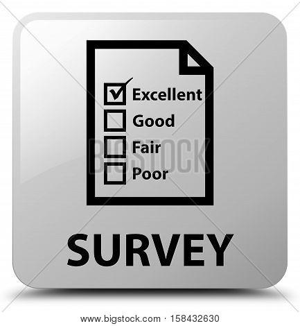 Survey (questionnaire icon) on white square button