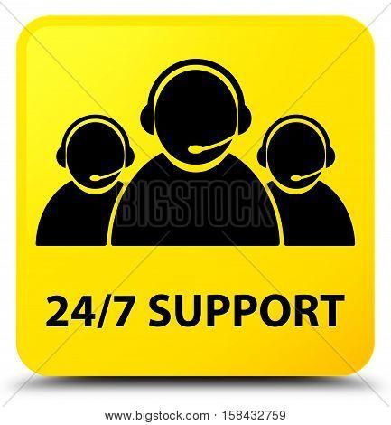 24/7 Support (customer Care Team Icon) Yellow Square Button