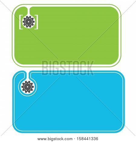 Colored business cards and cogwheel with arrows