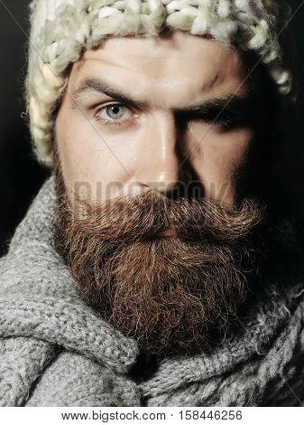 Frown Bearded Man With Beard