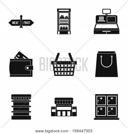 Purchase in shop icons set. Simple illustration of 9 purchase in shop vector icons for web