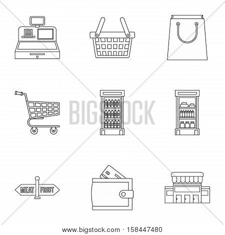 Purchase in shop icons set. Outline illustration of 9 purchase in shop vector icons for web