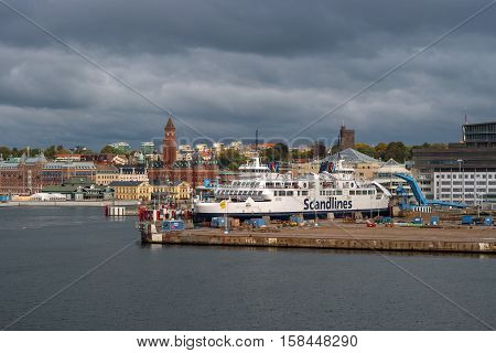 Helsingbog, Sweden - October 9, 2016: view of the city and the port on board the ferry to sail to Denmark. The passenger ferry prepares to leave in flight.