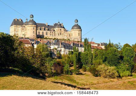 Historic village of Hautefort in Dordogne-Perigord Aquitaine France