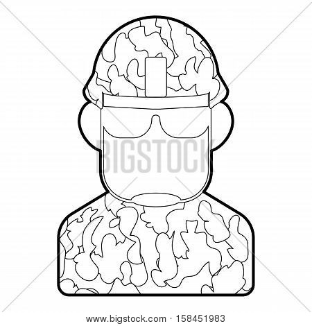 Soldier icon. Outline illustration of soldier vector icon for web design
