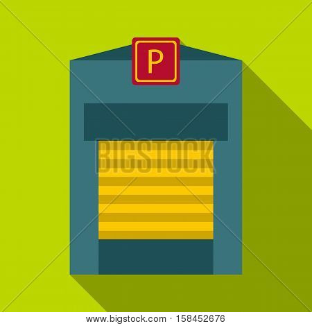Gates to parking icon. Flat illustration of gates to parking vector icon for web design