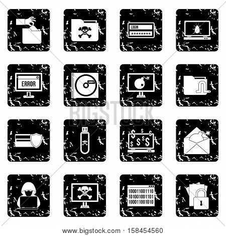 Criminal activity set icons in grunge style isolated on white background. Vector illustration