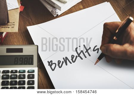 Benefits Income Compensation Advantage Assistance Concept
