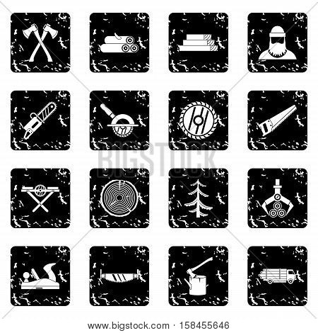 Timber industry set icons in grunge style isolated on white background. Vector illustration