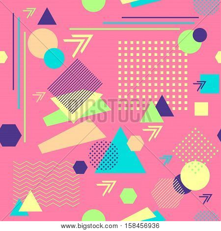 Abstract seamless pattern from geometric form in postmodern Memphis Style on pink background for wallpaper or package or for clothes for decoration childish school subject or for creative design