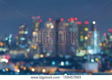 Blurred abstract lights city building at night