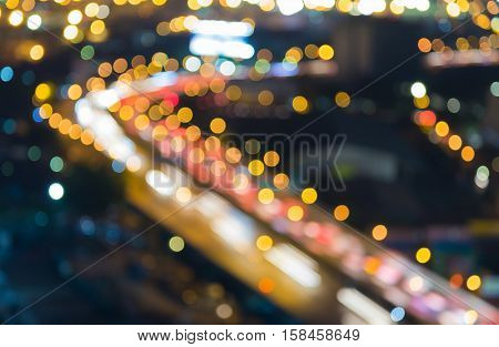 Blurred lights background, city downtown highway curved