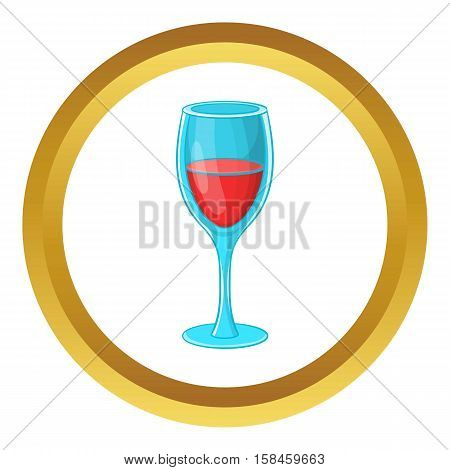 Glass of red wine vector icon in golden circle, cartoon style isolated on white background