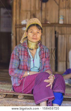 CHIANG RAI THAILAND - November 06 : Unidentified Long Neck Karen hill tribe woman on November 06 2016 in Chiang Rai Thailand.