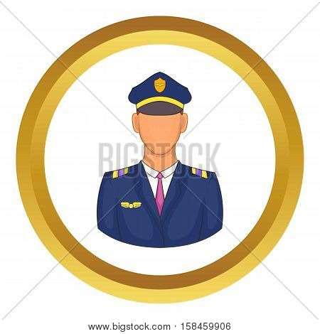 Pilot vector icon in golden circle, cartoon style isolated on white background